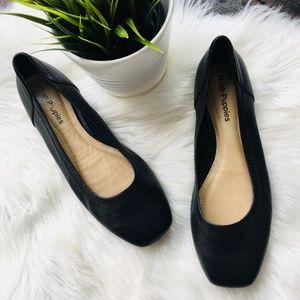 HUSH PUPPIES Square Toe Ballet Flats Black Leather
